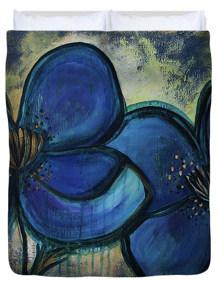 Two Blue Poppies Duvet Cover