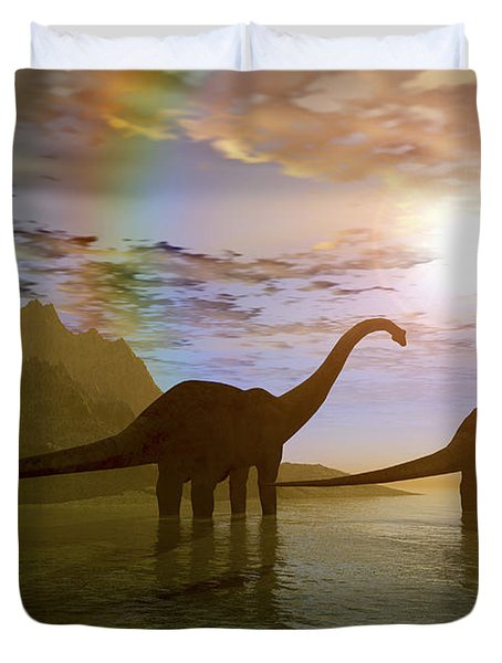 Two Diplodocus Dinosaurs Wade Duvet Cover by Corey Ford