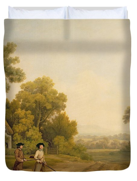 Two Gentlemen Going A Shooting Duvet Cover by George Stubbs