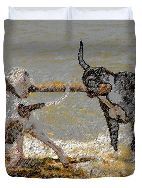 Two Good Friends Duvet Cover by David Lee Thompson