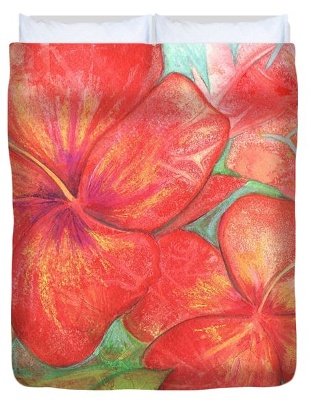 Duvet Cover featuring the painting Two Hibiscus Blossoms by Carla Parris