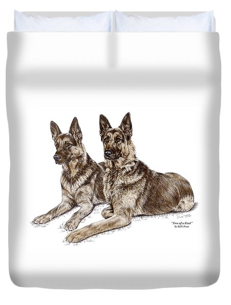 Two Of A Kind - German Shepherd Dogs Print Color Tinted Duvet Cover by Kelli Swan