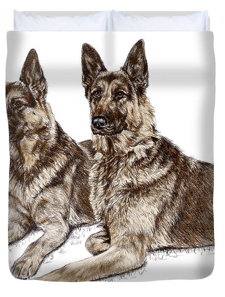 Two Of A Kind - German Shepherd Dogs Print Color Tinted Duvet Cover