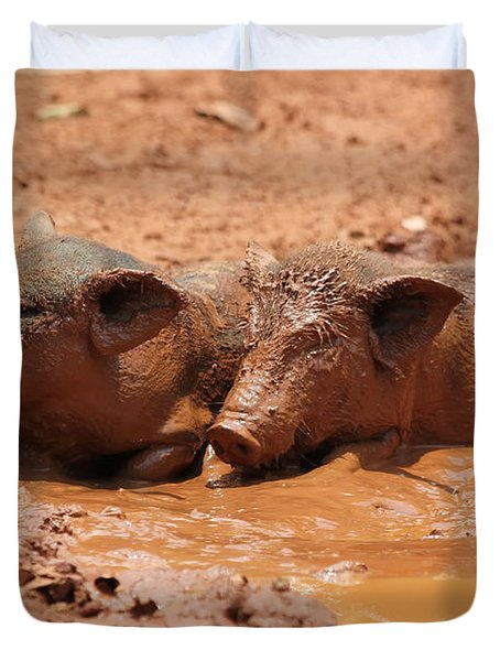 Two Pigs In A Puddle Duvet Cover by Nola Lee Kelsey