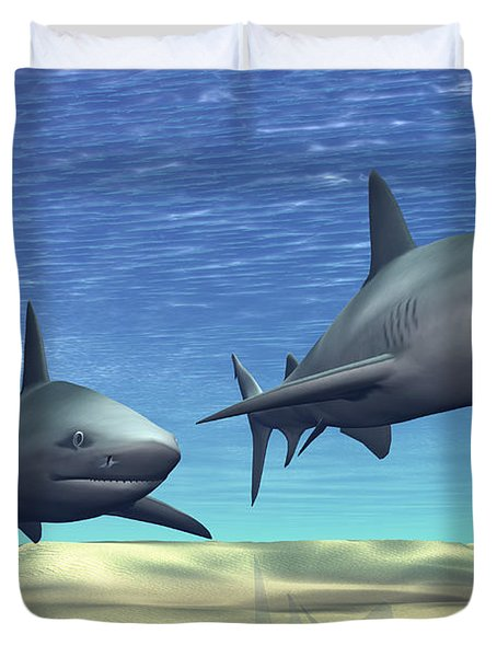 Two Sharks On Patrol Over A Sandy Reef Duvet Cover by Corey Ford