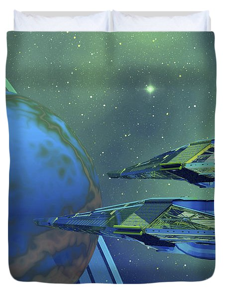 Two Spacecraft Fly To Their Home Planet Duvet Cover by Corey Ford