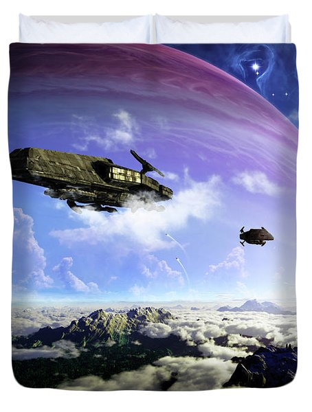 Two Spacecraft Prepare To Depart Duvet Cover by Brian Christensen