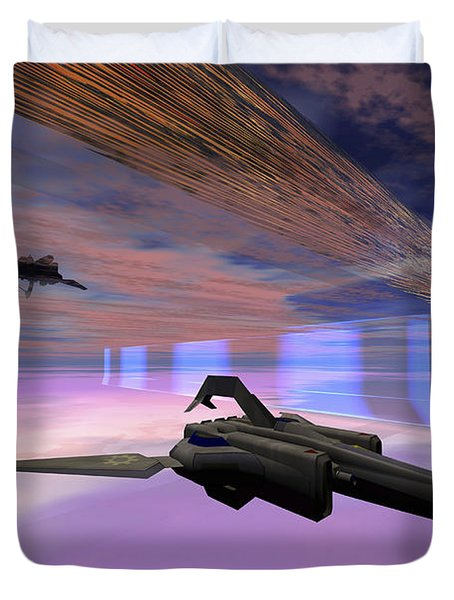 Two Starships Warp Along Space Enegy Duvet Cover by Corey Ford