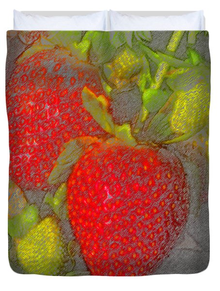 Two Strawberries Duvet Cover by David Lee Thompson