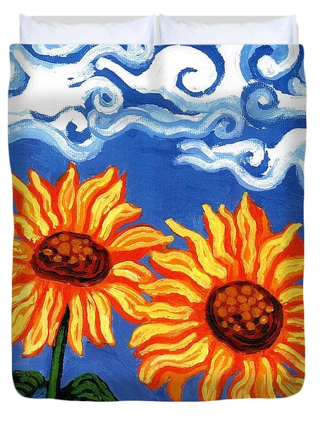 Two Sunflowers Duvet Cover by Genevieve Esson