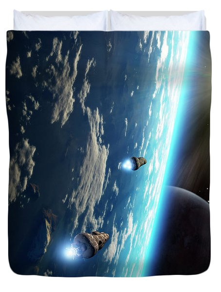 Two Survey Craft Orbit A Terrestrial Duvet Cover by Brian Christensen