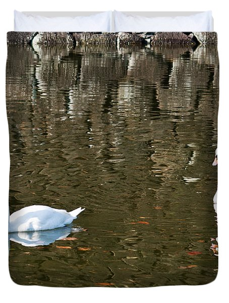 Two Swan Floating On A Pond  Duvet Cover by U Schade