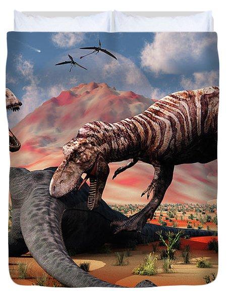 Two T. Rex Dinosaurs Feed Duvet Cover by Mark Stevenson