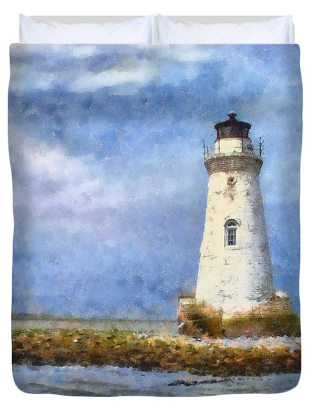 Tybee Island Lighthouse Duvet Cover by Lynne Jenkins