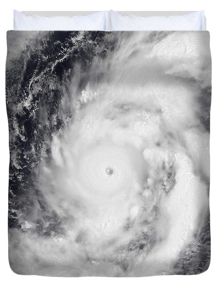 Typhoon Damrey In The Western Pacific Duvet Cover