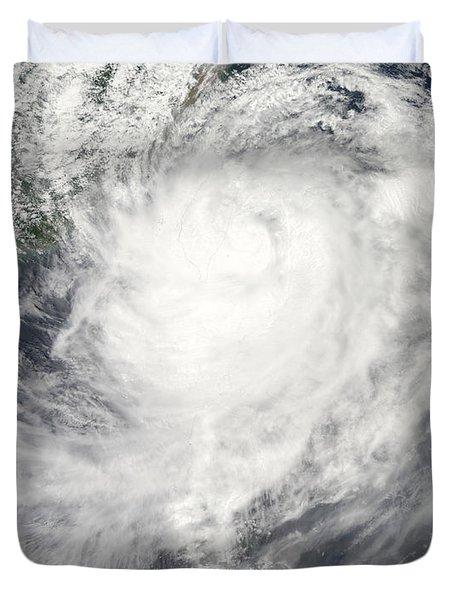 Typhoon Morakot Over Taiwan Duvet Cover