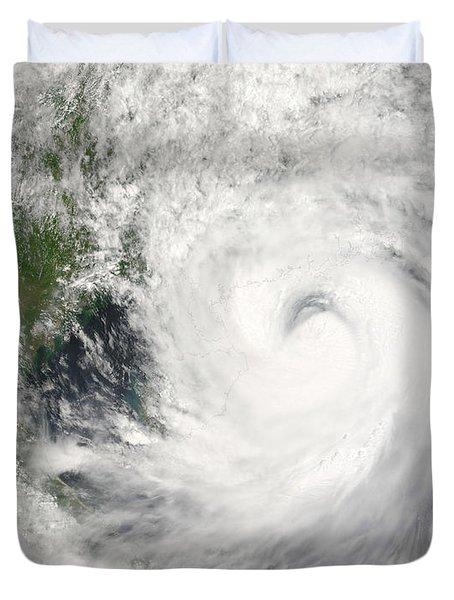 Typhoon Prapiroon Duvet Cover by Stocktrek Images