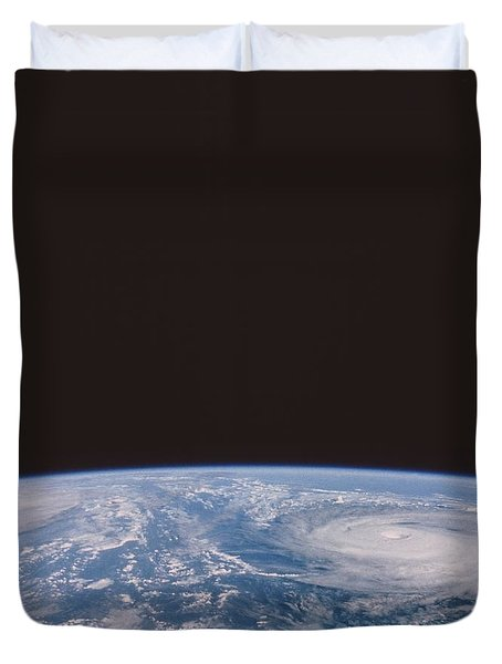 Typhoons Odessa And Pat, Seen Duvet Cover by NASA / Science Source
