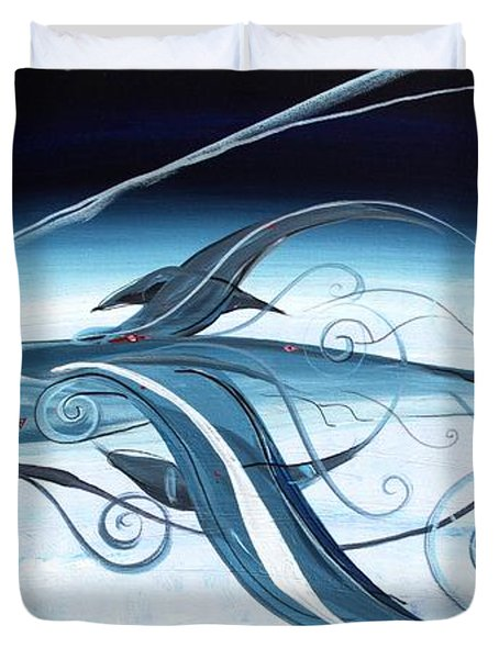 U2 Spyfish - Spy Plane As Abstract Fish - Duvet Cover by J Vincent Scarpace