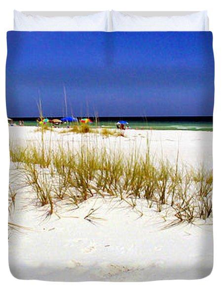 Umbrellas On The Beach Duvet Cover by Judi Bagwell