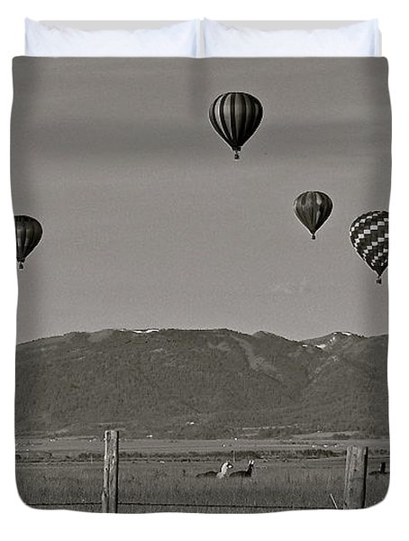 Duvet Cover featuring the photograph Unconcerned Lamas by Eric Tressler