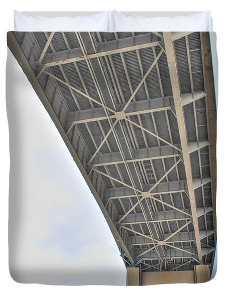 Duvet Cover featuring the photograph Under The Skyway by Michael Frank Jr
