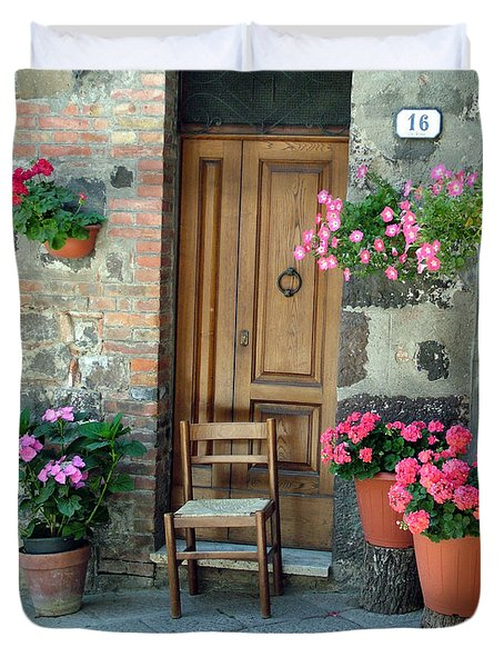 Duvet Cover featuring the photograph Uneven Tuscan Doorway by Donna Corless