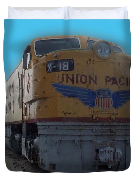 Union Pacific X 18 Train Duvet Cover by Thomas Woolworth