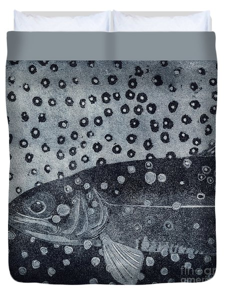 Unique Etching Artwork - Brown Trout  - Trout Waters - Trout Brook - Engraving Duvet Cover