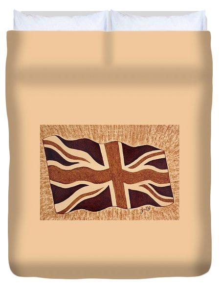 United Kingdom Flag Coffee Painting Duvet Cover by Georgeta  Blanaru