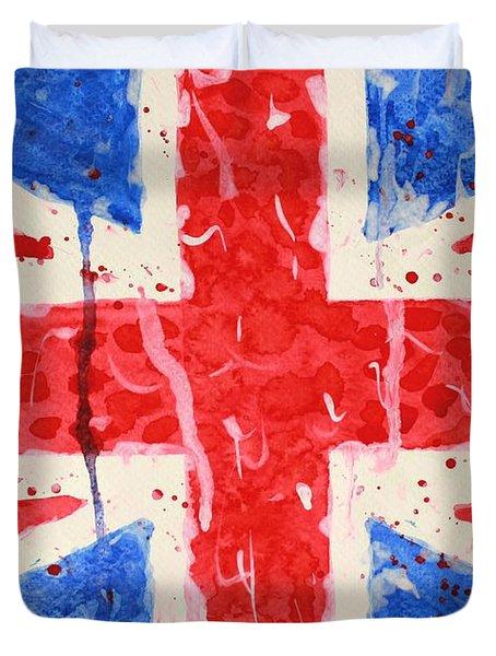 United Kingdom Flag Watercolor Painting Duvet Cover by Georgeta  Blanaru