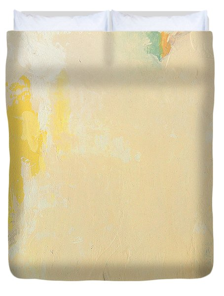 Untitled Abstract - Bisque With Yellow Duvet Cover
