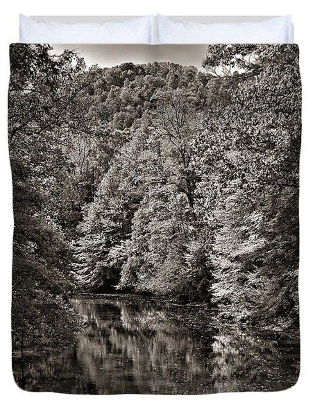 Up The Lazy River Monochrome Duvet Cover by Steve Harrington