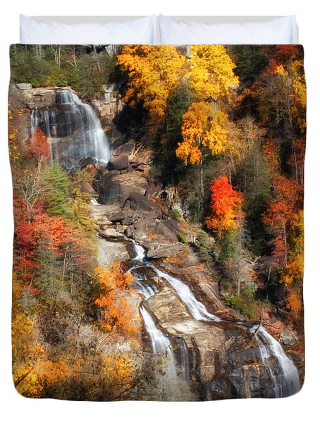 Upper Whitewater Falls Duvet Cover by Lynne Jenkins