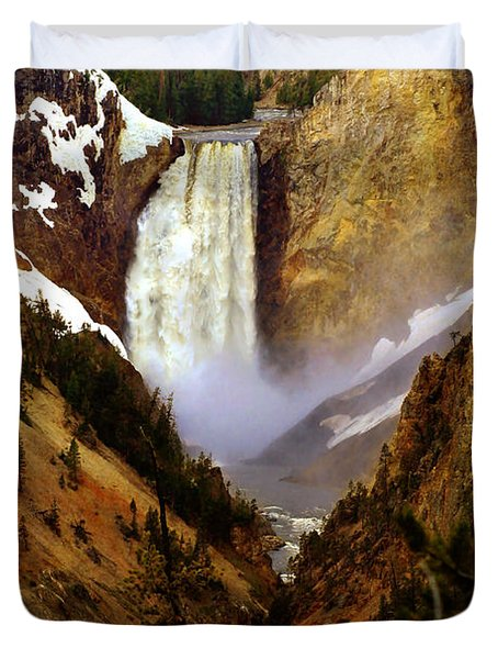 Upper Yellowstone Falls Duvet Cover by Ellen Heaverlo