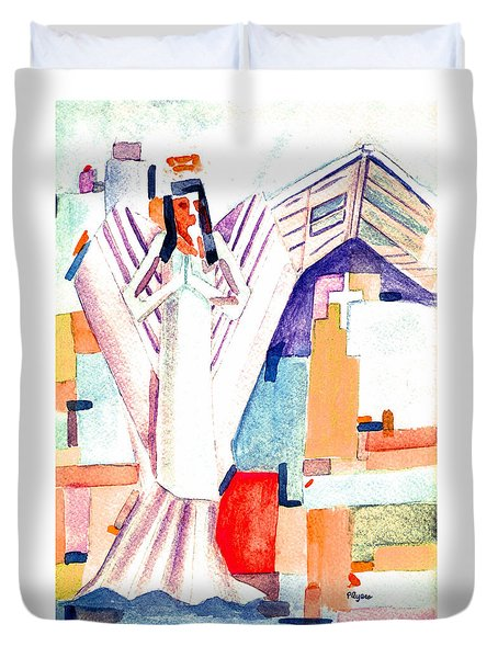 Duvet Cover featuring the painting Urban Angel Of Light by Paula Ayers