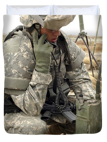 U.s. Army Soldier Performs A Radio Duvet Cover by Stocktrek Images