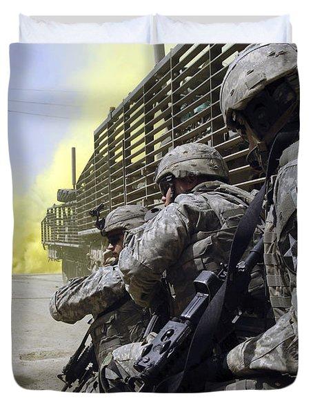 U.s. Army Soldiers Using Smoke Grenades Duvet Cover by Stocktrek Images