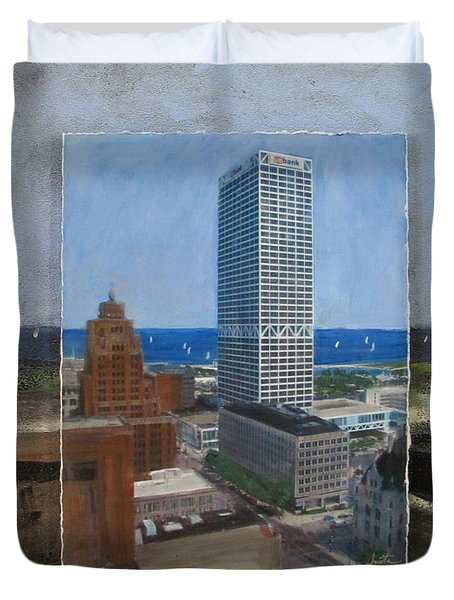 Us Bank Lake Michigan Layered Duvet Cover by Anita Burgermeister