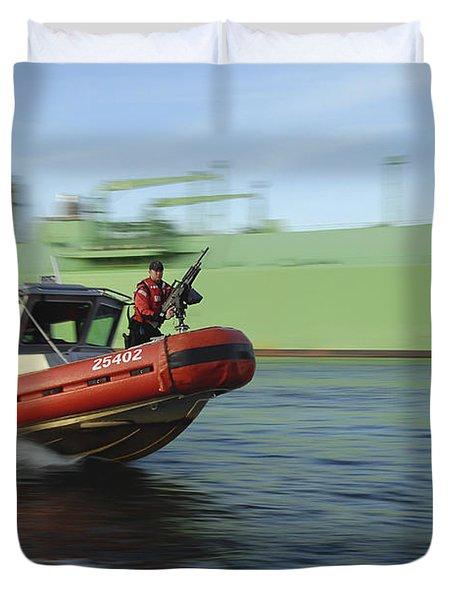U.s. Coast Guard Officer Mans A M240b Duvet Cover by Stocktrek Images