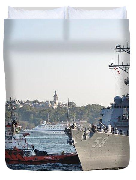 Us Cruiser Docking In Istanbul Duvet Cover