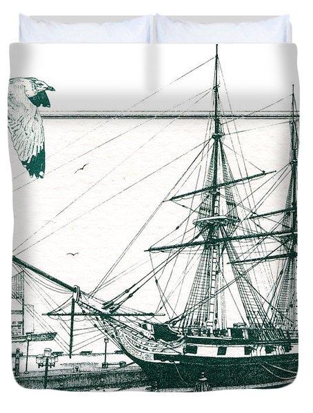 Us Frigate Constellation Duvet Cover by John D Benson