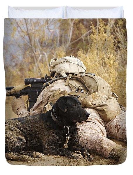 U.s. Marine And A Military Working Dog Duvet Cover