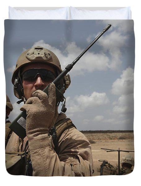 U.s. Marine Uses A Radio In Djibouti Duvet Cover by Stocktrek Images