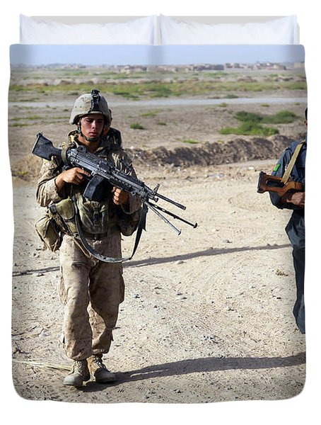 U.s. Marines And Afghan National Police Duvet Cover by Stocktrek Images