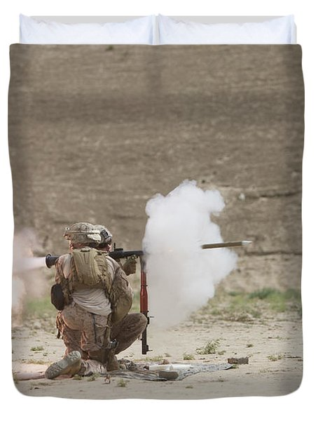 U.s. Marines Fire A Rpg-7 Grenade Duvet Cover by Terry Moore