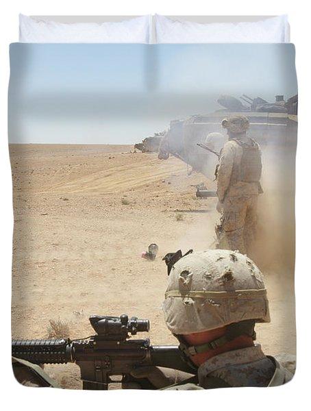 U.s. Marines Fire Several Duvet Cover by Stocktrek Images