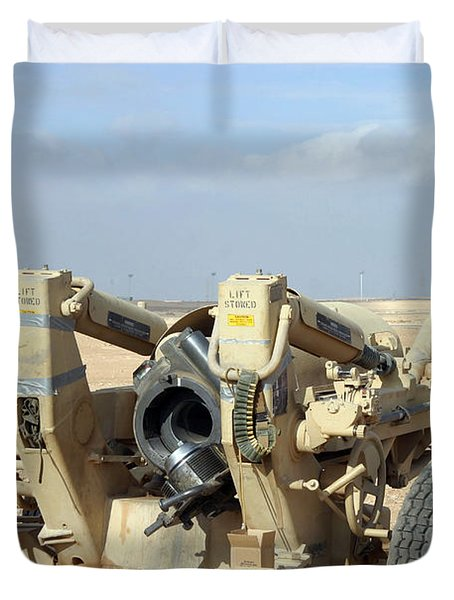 U.s. Marines Prepare To Fire A Howitzer Duvet Cover by Stocktrek Images