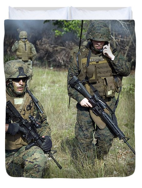 U.s. Marines Secure A Perimeter Duvet Cover by Stocktrek Images