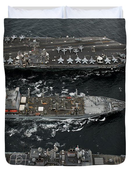 U.s. Navy Ships Conduct A Replenishment Duvet Cover by Stocktrek Images